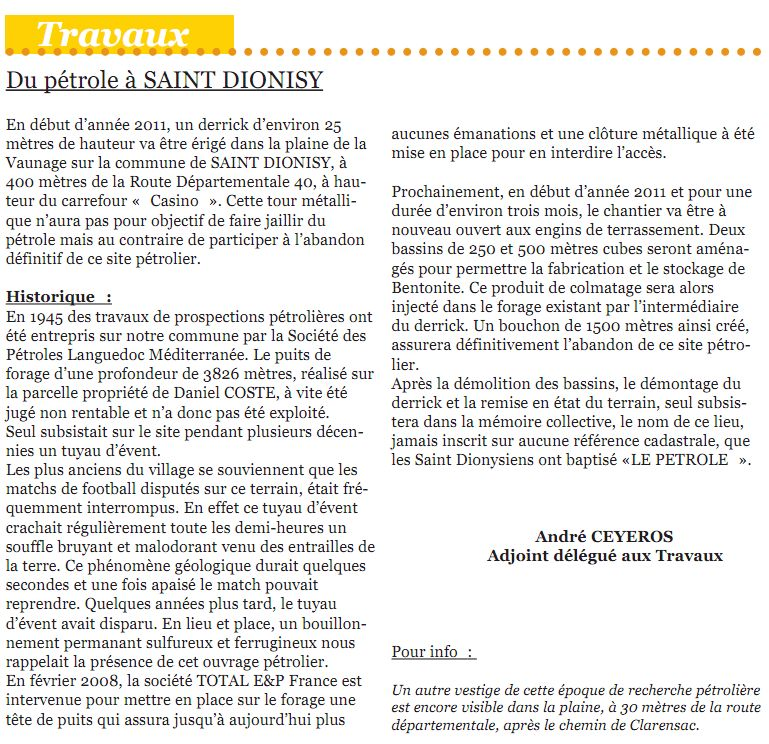 du gaz de schiste à Saint Dionisy (près de Vergèze) ? ou de l'archéologie ? StDionisy